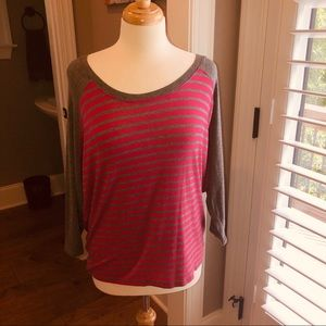 Pink and gray stripe top